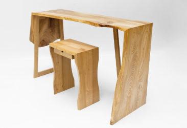 Narrow Elm Desk - view of desk and stool
