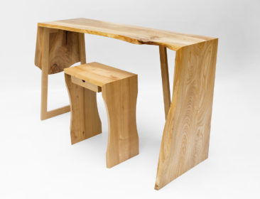 Elm Desk and Stool
