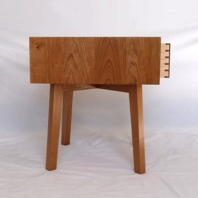 Cherry Bedside Table - Profile view