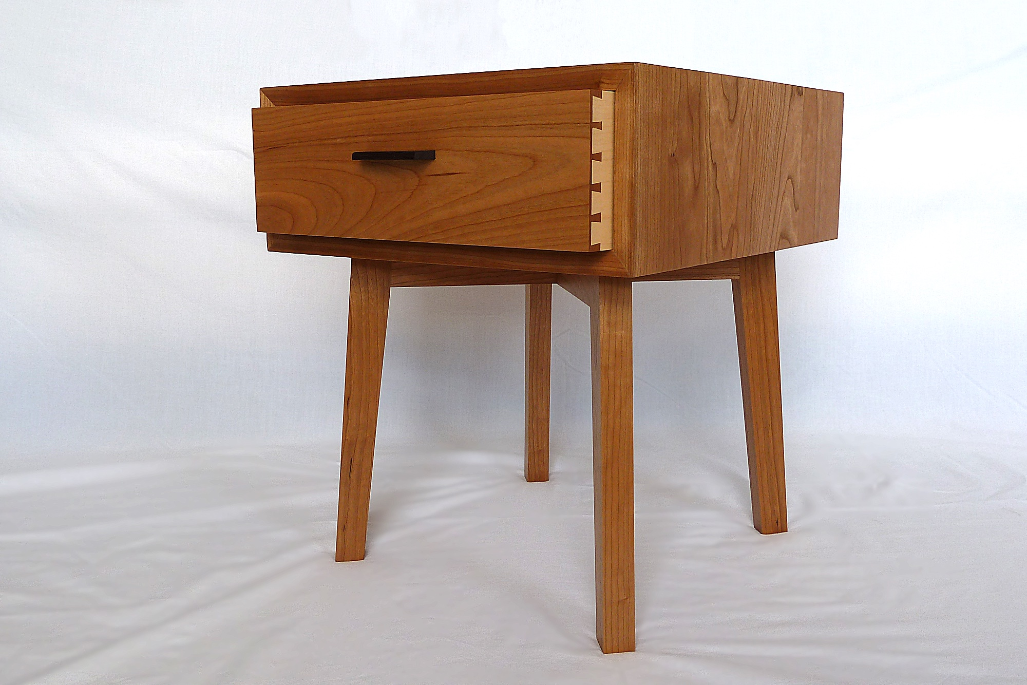 Cherry bedside table with dovetailed drawer