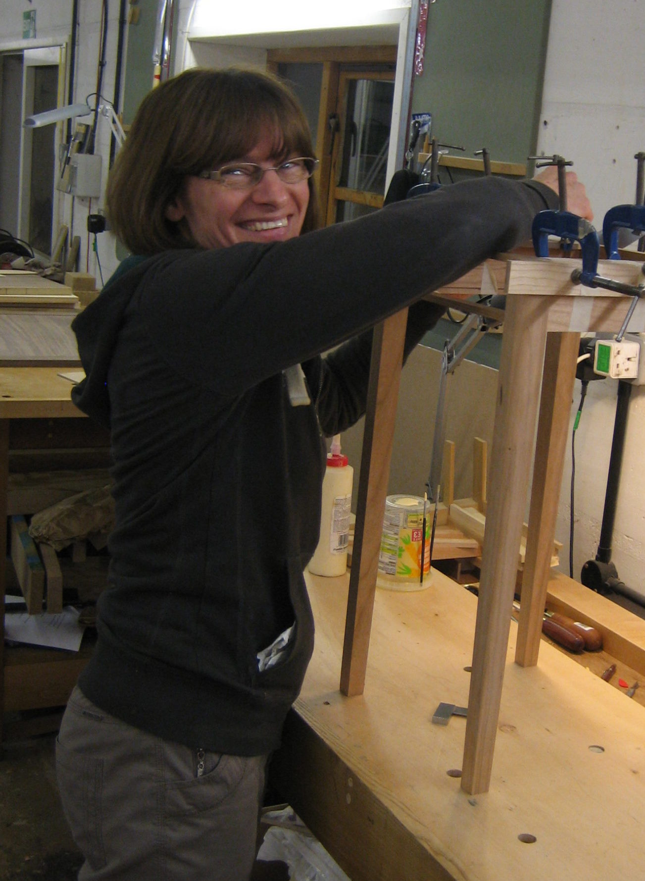 Picture of Irene Banham making a small table