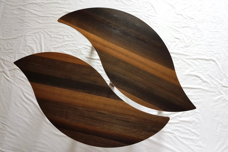 Bog Oak Double Leaf Coffee Table with leaves adjacent each other but not touching