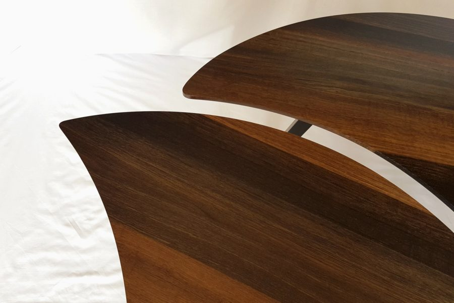 Close-up of ends of the Bog Oak Double Leaf Coffee Table