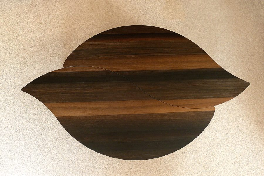 View from above onto Bog Oak Double Leaf Coffee Table