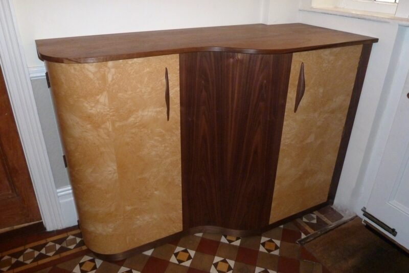 Walnut and Ash Burr Cabinet front view