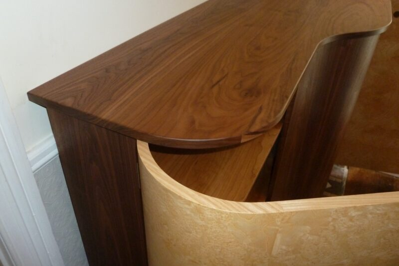 Close up go hall cabinet top and curved door