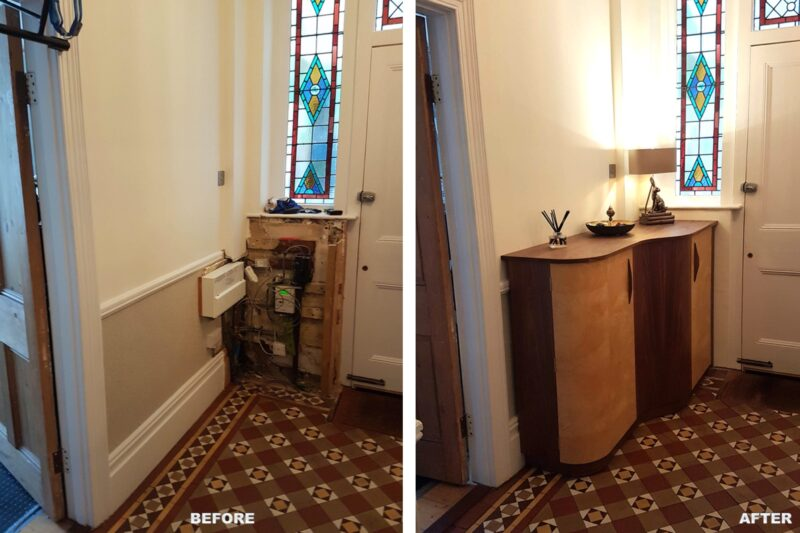Bespoke Hall Cabinet - view of hall before and after installation