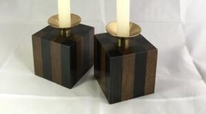 Candlesticks made from striped bog oak pieces