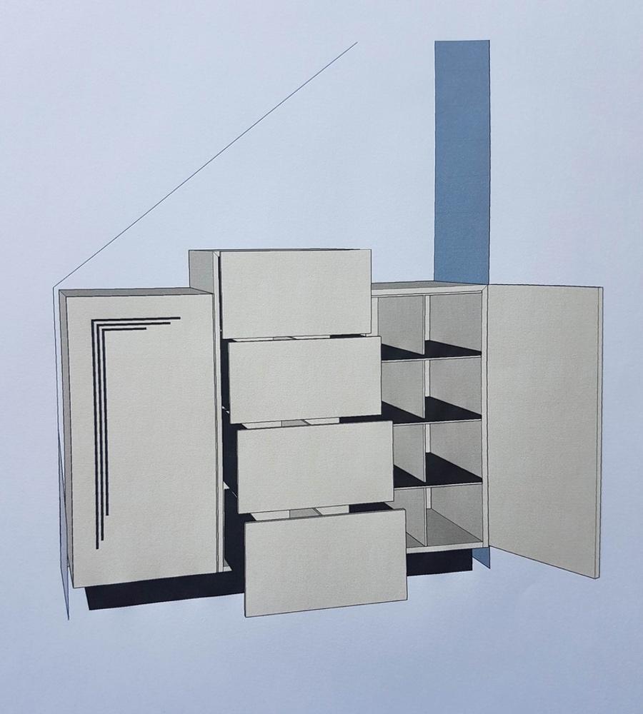 Picture of Art Deco cabinet showing doors open in 3D model
