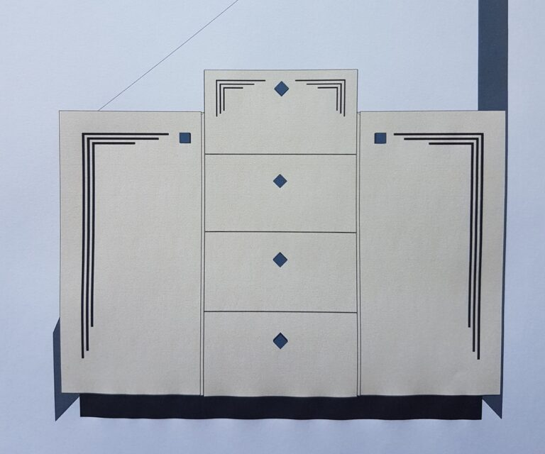 Art Deco Cabinet - picture of computer model of front elevation