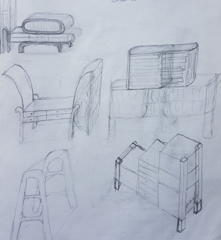 Sketchbook extract with ideas for cabinet designs