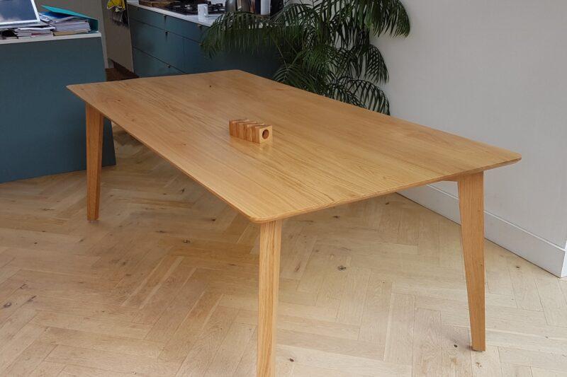 Top of bespoke oak dining table
