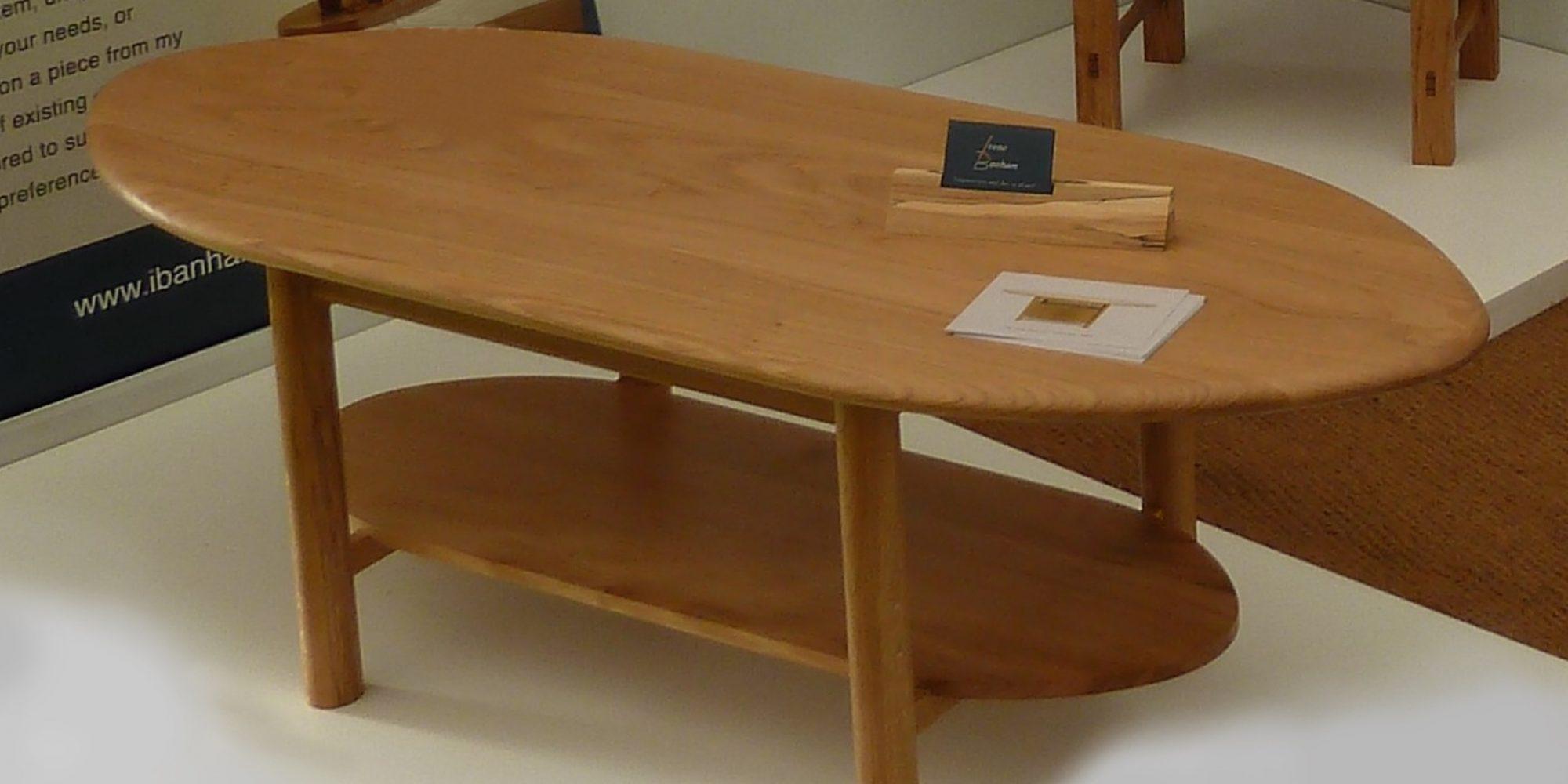 Large Oak Coffee Table with shelf