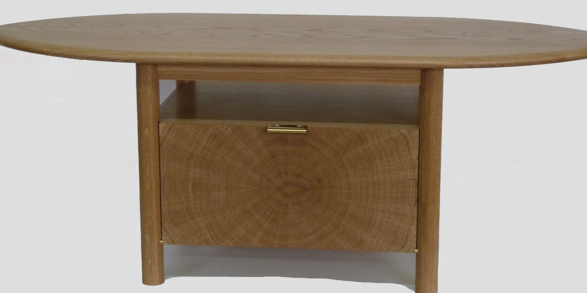 Oak Television Table with feature end grain cabinet